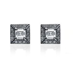 Collette Z Sterling Silver Square Cubic Zirconia Earrings