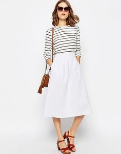 Wardrobe Stapes for Spring / capsule collection / white linen mid skirt
