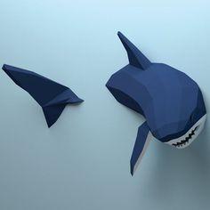 Modelo de bajo poli tiburón tiburón de Papercraft 3D crear su