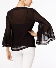 Trina Turk Cotton Bell-Sleeve Peasant Top - White XS