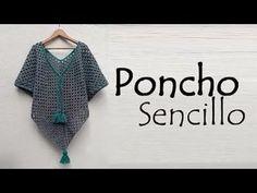 Poncho sencillo a crochet - Crochet Aphgans Purse Patterns Free, Crochet Purse Patterns, Crochet Purses, Crochet Scarves, Crochet Clothes, Crochet Granny, Crochet Shawl, Easy Crochet, Crochet Stitches