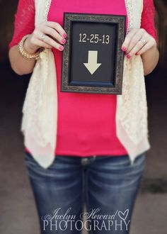 Your due date and an arrow.  Fun way to announce your pregnant Jaclyn HEward Photography