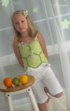 Fruity Fun 2. Citrus Top Corset Crochet by mylittlecitygirl, $9.95