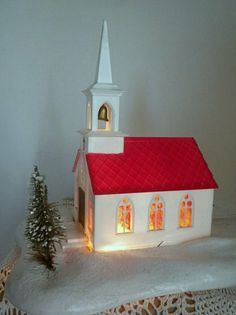 vintage Christmas church plays Silent Night lights up by vivarte, $20.00