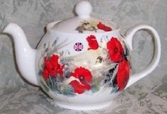 Roy Kirkham Fine English Bone China 6 Cup Teapot Tea Pot POPPY