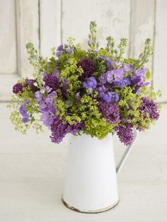 lush purple and green arrangement