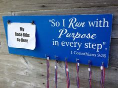 Race bib running medal holder and display running gift Run with Purpose on Etsy, $38.00