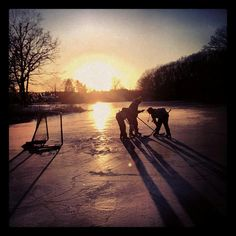 Pond hockey with the boys
