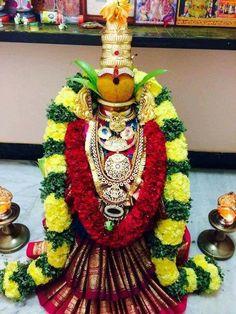 "Varalakshmi Vratham or Varalakshmi Vrat is the festival to appease Goddess Lakshmi, the consort of Lord Vishnu. Vara means that ""boon"" and Lakshmi means ""Goddess of Wealth"". Housewarming Decorations, Diwali Decorations, Festival Decorations, Flower Decorations, Kalash Decoration, Indian Decoration, Ganapati Decoration, Puja Room, Goddess Lakshmi"
