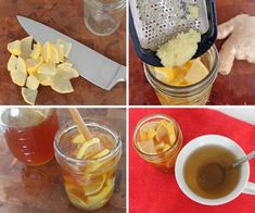 Homemade Cold & Flu Remedy  Ingredients:         Fresh lemon      Fresh ginger      Raw honey*      Directions:        Slice lemon into quarters and pack into jar      Grate ginger, and add to lemon (the amount is up to you - the more the better, I say!)      While stirring, fill jar with honey      To Use:        Add 1 tablespoon (or more to taste) to hot water and stir