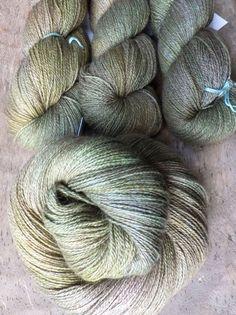 Smoked Olives Hand Dyed Buffalo Silk Lace Yarn by sericin