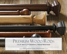 http://www.designerdraperyhardware.com/select-2-1-4-inch-rustic-elegance-wooden-drapery-rods/ Let the wood grain show through for a truly rustic style treatment. Rich stains like Chestnut and Oak are available as well as a beautiful Natural finish. Carved, real wood finials and end caps complete your design. #homedecorinspiration #interiordesign #windowtreatments #windows #designideas #drapery #curtains #draperies #curtainrods #homedecor #draperyhardware #draperyrods