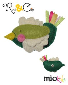 Green bird Mio character to use with Roll & Clip bands.