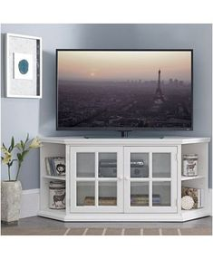 Home Riley Holliday Cottage White 56 Corner TV Console with Bookcase/Display Console Tv, Bookcase Tv Stand, Corner Tv Console, Corner Tv Cabinets, Corner Shelves, Tv Cabinet Design, Tv Unit Design, Corner Unit Tv Stand, Tv In Corner