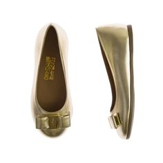 Salvatore Ferragamo Girls Metallic Gold Leather Shoes With Bow ($335) ❤ liked on Polyvore featuring girls and kids