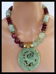 ASIAN DRAGON Handforged Jade Pendant by sandrawebsterjewelry
