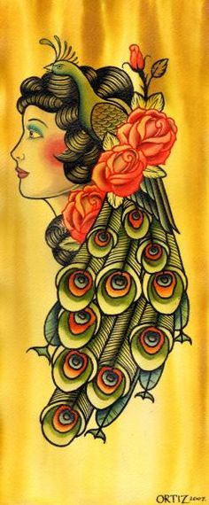 Tattoo Flash | Feathered Gypsy by Opie Ortiz Peacock Hair Lady Canvas Giclee Tattoo Art | eBay. AMAZING!