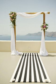 Stylish elopement in Greece | Black and white aisle