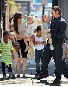 Brad Pitt & Angelina Jolie  Favourite couple, such a beautiful family<3