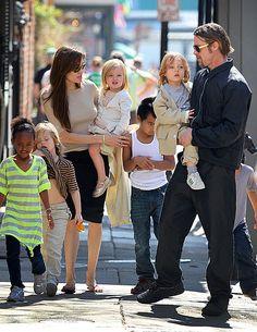 Brad Pitt & Angelina Jolie  Favourite couple, such a beautiful family<3