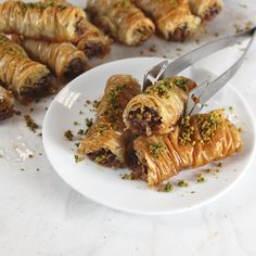 Athens Foods | Pistachio, Chocolate and Orange Baklava Rolls | Athens Foods Chocolate Baklava, Chocolate Roll, Phyllo Recipes, Athens Food, Red Pepper Jelly, Flaky Pastry, Filo Pastry, Baklava Recipe, Cold Appetizers