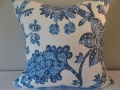 Blue Floral Vintage Waverly Decorative Pillow Cover - Throw Pillow - Toss Pillow - Both Sides - Blue Home Decor, Spring Home Decor, Floral Pillows, Colorful Pillows, Decorative Pillow Covers, Throw Pillow Covers, Classic Throws, Denim And Diamonds, Vine Design