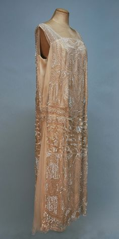 BEADED CREPE and CHIFFON DECO DRESS, 1920's.