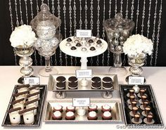Lack And Silver Dessert Table