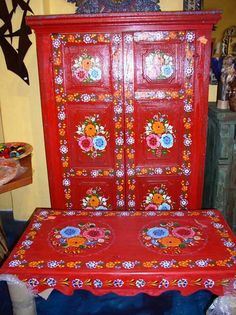 Que Chula Style Mexican Goods ABQ - Hand Painted Furniture - Mexican . & Mexican Handcraft Hand Made Wood Shelf | Painted chairs | Pinterest ...