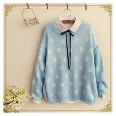 Most wanted Sky sweater w/collar Harajuku Fashion, Kawaii Fashion, Cute Fashion, Style Ulzzang, Sweater Coats, Sweaters, Pastel Outfit, Mein Style, Cute Japanese