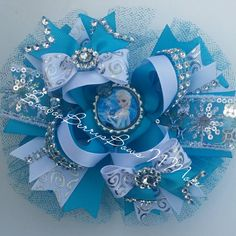 Elsa FROZEN large stacked bow on Etsy, $12.25