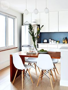 64 Contemporary Modern Dining Room Design Ideas to Makeover your - Contemporary Modern Kitchen, Small kitchen Design, Smart Kitchen Furniture Remodel, Diy Kitchen Island Dining Table, Modern Kitchen Tables, Modern Kitchen Design, Interior Design Kitchen, Home Design, Design Ideas, Dining Tables, Kitchen Designs, Island Table