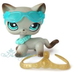 ✵Littlest Pet Shop✵391✵GRAY SIAMESE AROUND THE WORLD KITTY CAT✵CROWN ACCESSORY✵