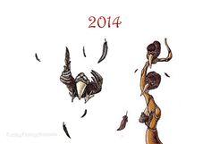 PDF printable yearly Calendar 2014 Crows by FunkyFancyAnimals, €1.90