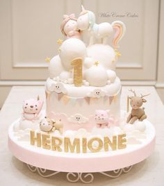 Pink & Gold Little Girl Unicorn Cake with Animals and Bunting (Hermione)