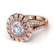Round Diamond 14K Rose Gold Ring with Rhodolite Garnet