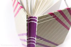 Closeup of the spine on this Coptic Stitch Handmade Book by Ruth Bleakley