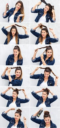 DIY twisted top knot. I'll try it. Looks a little more difficult than the picture shows haha