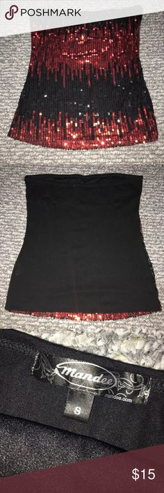 Mandee Red And Black Sequined Tube Top Mandee Red And Black Sequined Tube Top mandee Tops Tank Tops