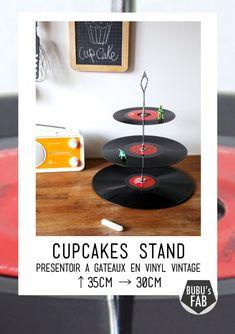 Présentoir en vinyles pour mettre les petits fours - Boutique de Bubusfab sur Etsy.com