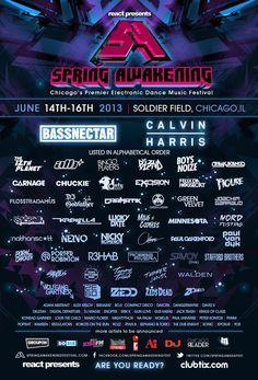 Spring Awakening 2013 - June 14-15 - Chicago - Phase One Lineup -  http://edmcal.com/spawake