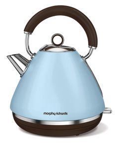 Celebrating 80 years, the Accents traditional pyramid kettles are available in 3 limited special edition colours. Shown here, the azure kettle with matte finish. Traditional Kettles, Tableware, Kitchenware, Stainless Steel, Kitchen Appliances, Electric, Electric Kettles, Retro Design, Human Height