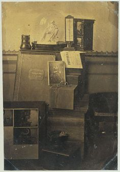 Eduard Isaac Asser Still life with photographs in a frame, one of the photographer's albums, a lens, a plaster cast of Heinrich Dannecker's Ariadne auf dem Pnather, a thermometer and a copy of the photographic magazine Revue Photographique. 1855-1856 Salted paper print, from wet collodion on glass negative Rijksmuseum