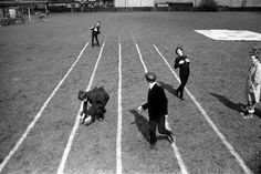 """Messing around on the running track; a scene for the film """"A Hard Day's Night"""" - The Beatles"""