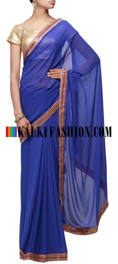 Buy Online from the link below. We ship worldwide (Free Shipping over US$100) http://www.kalkifashion.com/blue-saree-embellished-in-sequence-border.html Blue saree embellished in sequence border