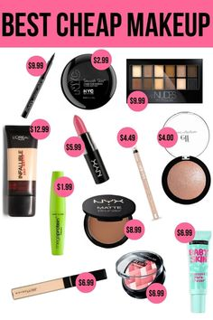 Best Cheap Makeup You don't always need high end makeup. Check out these great drugstore products.You don't always need high end makeup. Check out these great drugstore products. Makeup Set, Skin Makeup, Makeup Brushes, Makeup Style, Makeup Ideas, Diy Makeup Kit Gift, Makeup Tips, Basic Makeup Kit, Makeup Hacks
