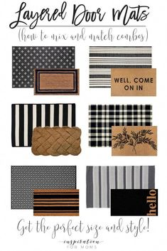 Give your front door a stylish new look by simply adding a few layered door mats. Get all the inspiration you need to get the best layered mat combination. #layereddoormats #doormats #doormatcombos #easyhomedecor