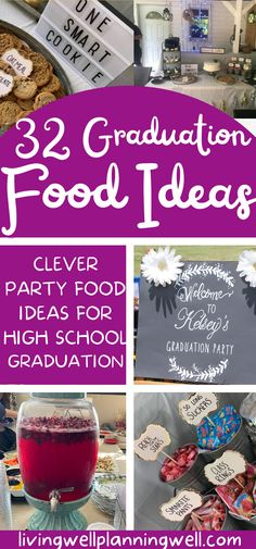 Looking for fun and simple graduation party food ideas to feed a crowd? These clever graduation party food buffet ideas are sure to be a hit with your guests. Graduation Party Desserts, Outdoor Graduation Parties, Graduation Party Planning, Graduation Party Themes, Party Food On A Budget, Party Food Buffet, Theme Ideas, Party Ideas, Buffet Ideas