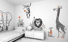 Vinilos Habitaciones Bebes Selva, Vinilo Jirafa, Vinilo Elefante, Vinilo Leon, Vinilo Mono por E-Glue diseño.