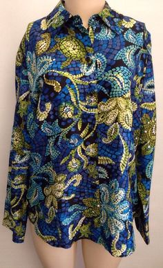 Chico's Top 2 Silk Womens Blue Turtle Floral Stained Glass Washable Shirt Chicos
